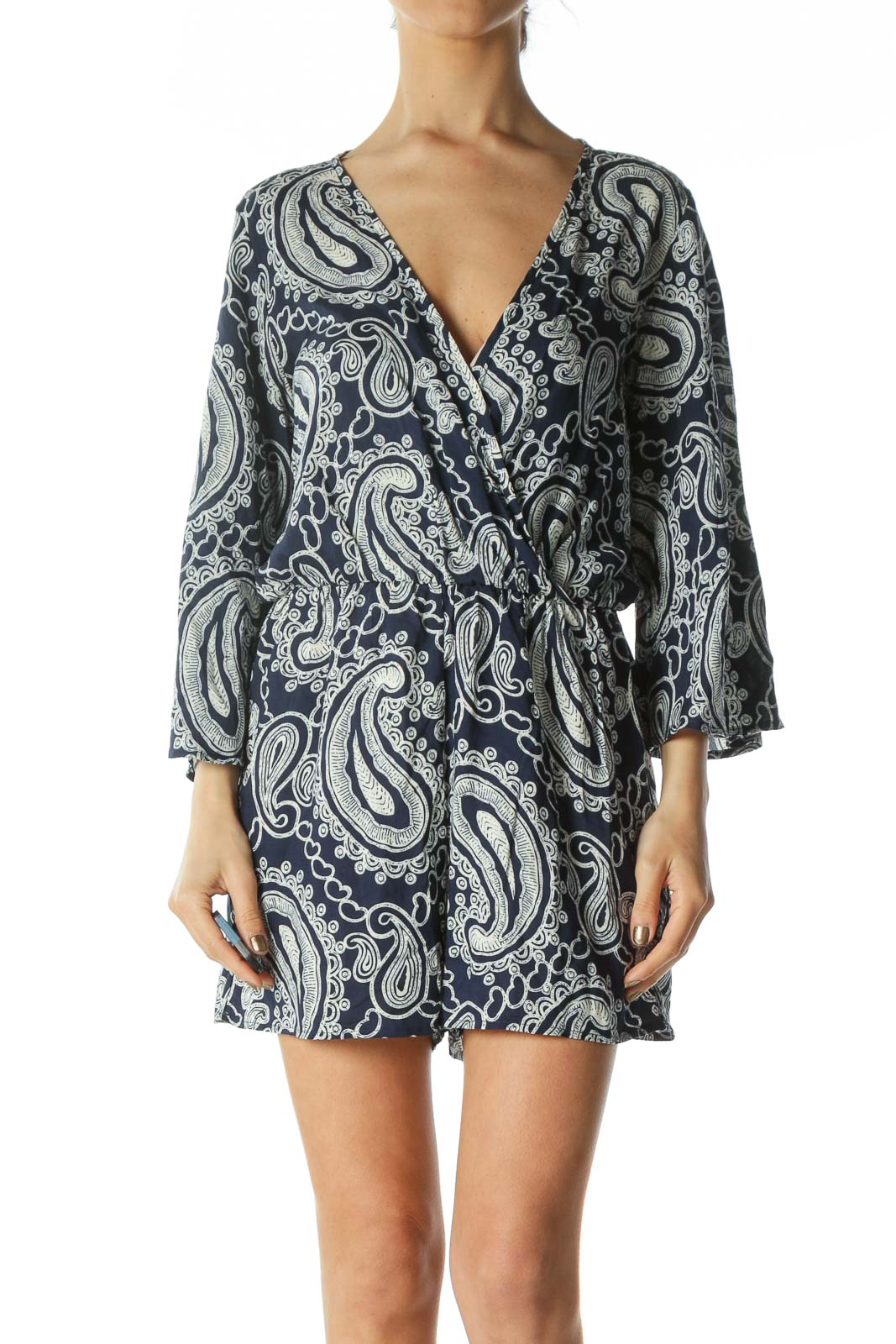 Navy Blue and White Patterned Romper with Bell Sleeves