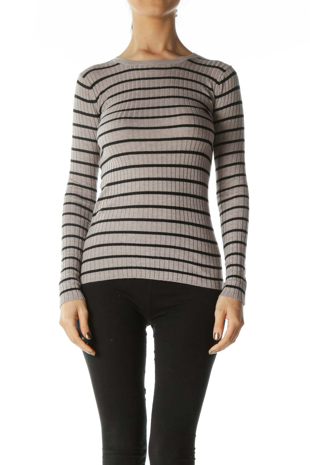 Grey and Black Striped Ribbed Long Sleeve Top