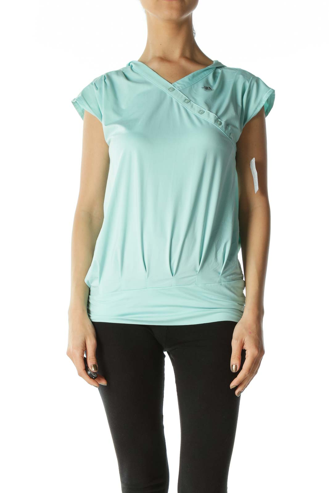 Teal Asymmetric-Buttoned Hooded Workout Tee