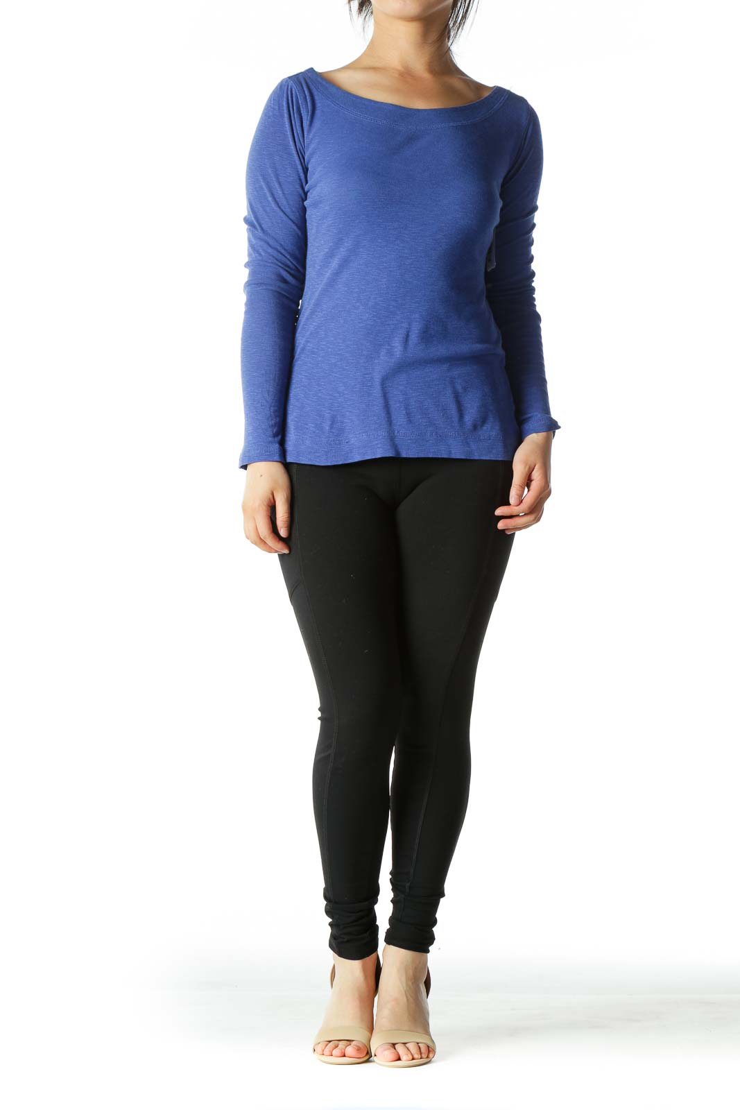 Royal Blue Boat Neck Long Sleeve Knit