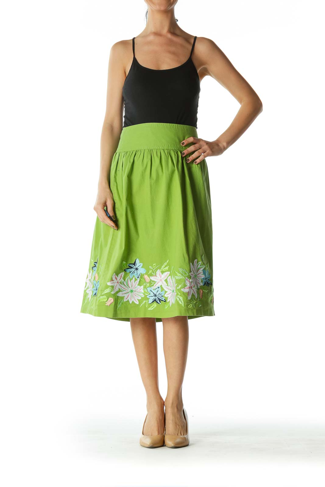 Green A-Line Skirt with Floral Print