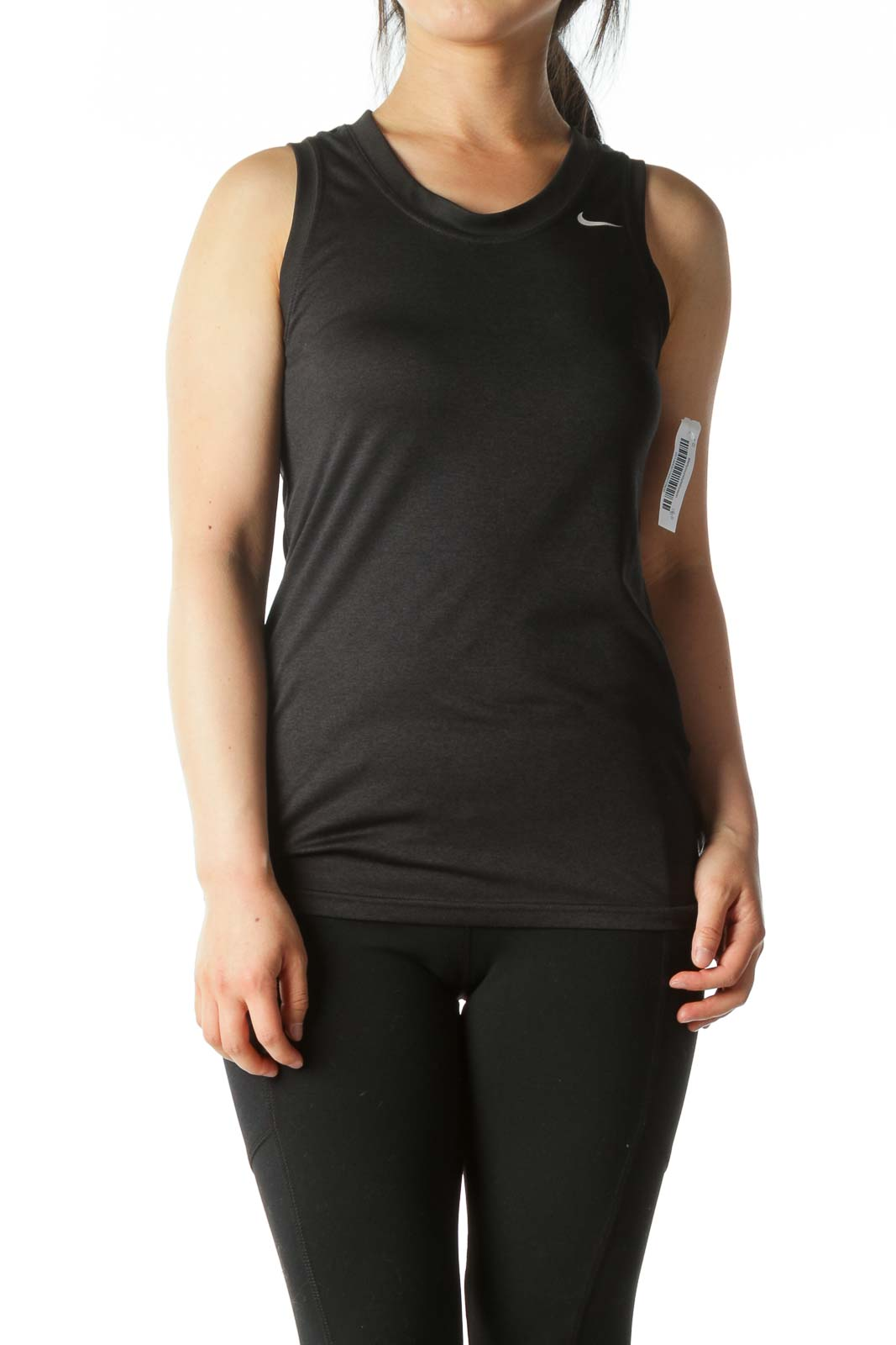 Black Round-Neck Stretch Sports Tank-Top