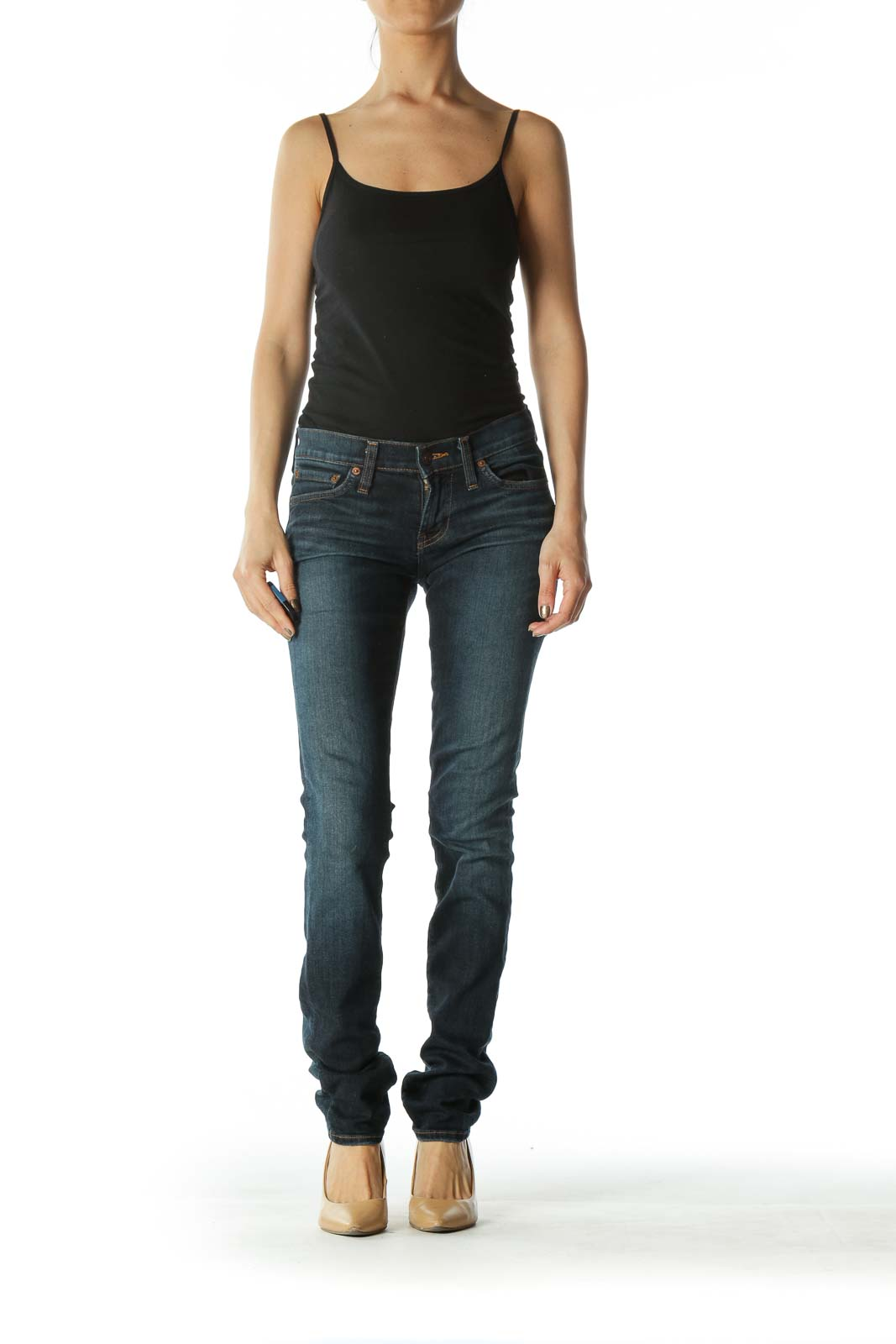Blue Dark Wash Low Rise Skinny Denim