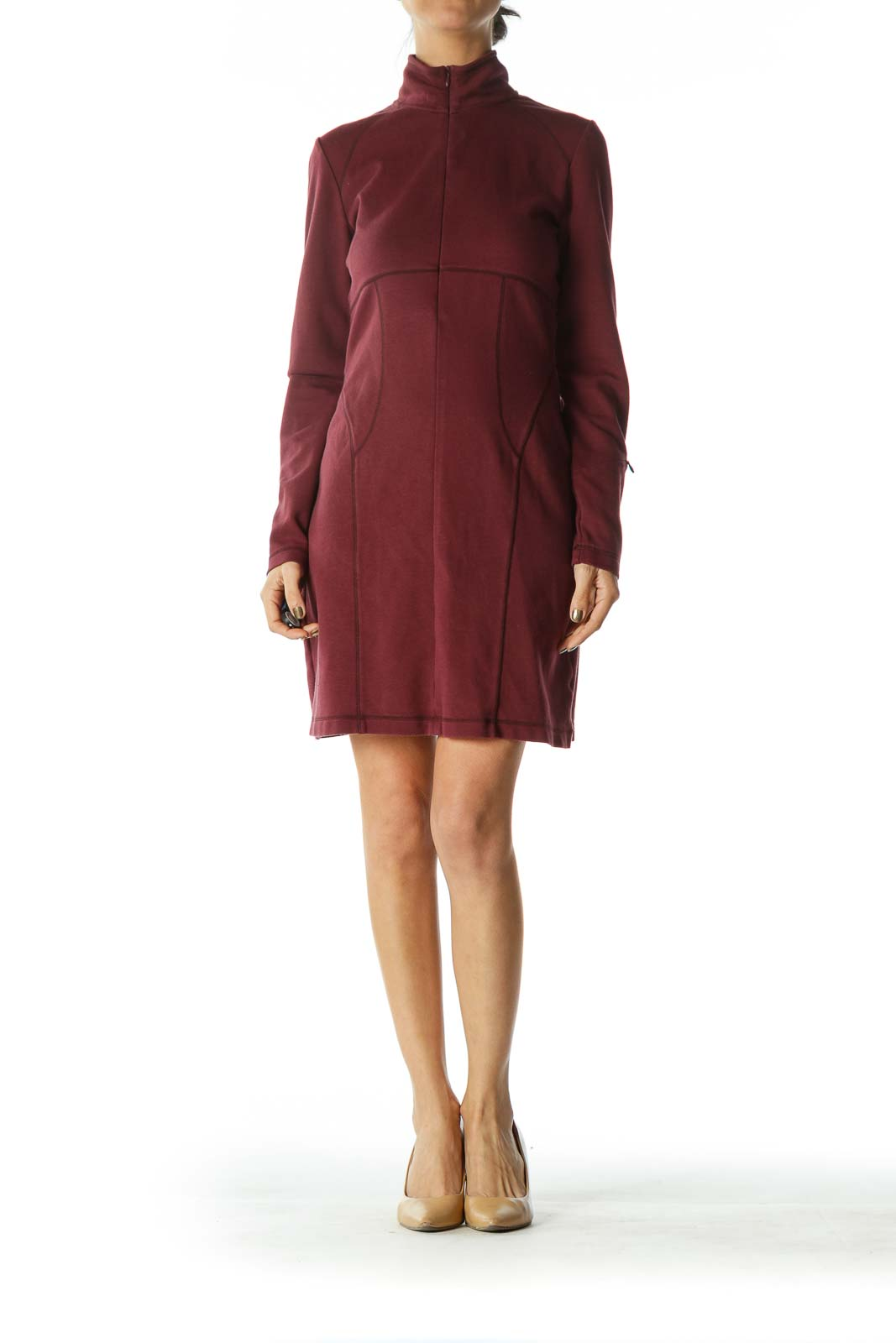 Burgundy Long Sleeve Athletic Dress