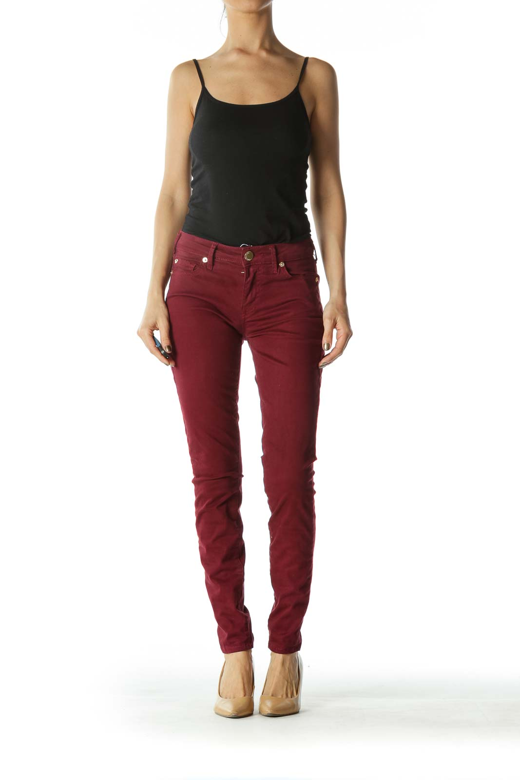 Crimson Red Skinny Pants