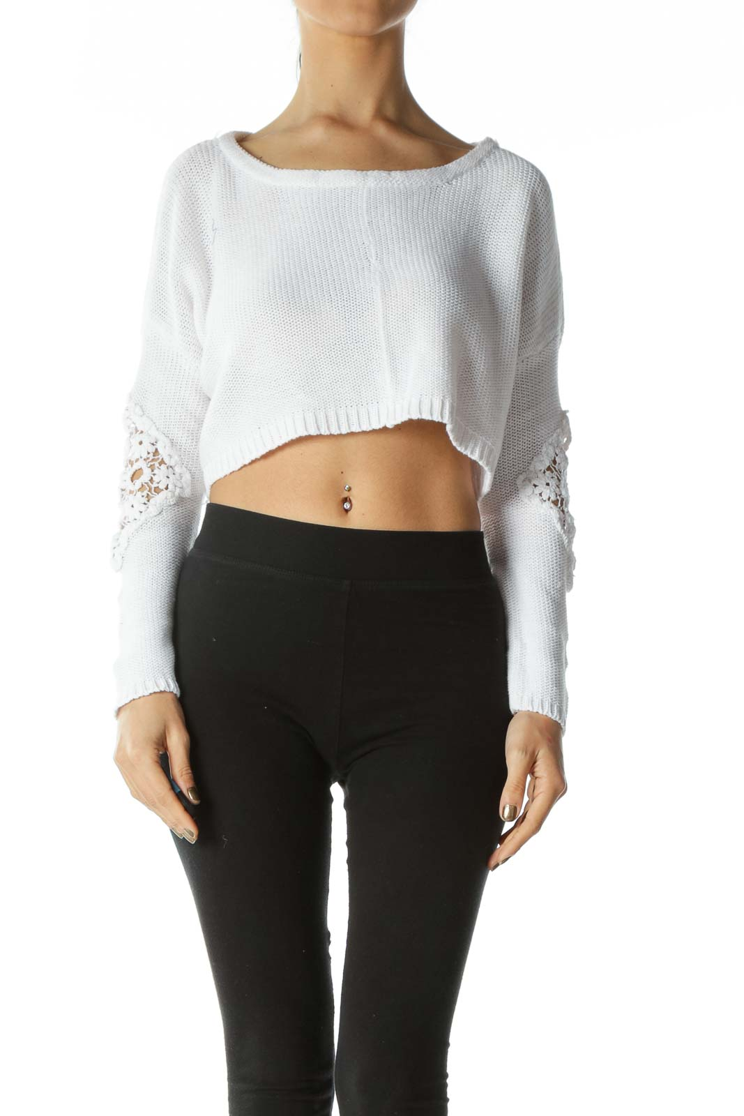 White Crocheted Long-Sleeve Crop-Top With Floral Lace