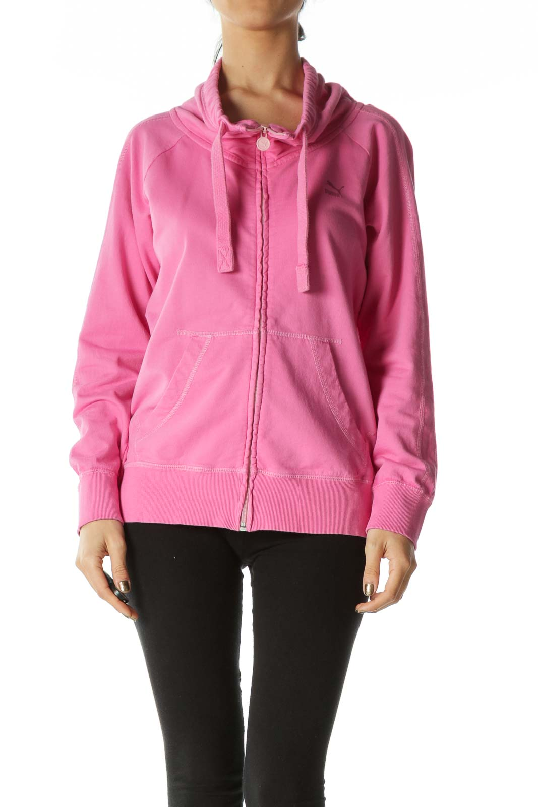 Pink Mock Neck Cotton Jacket