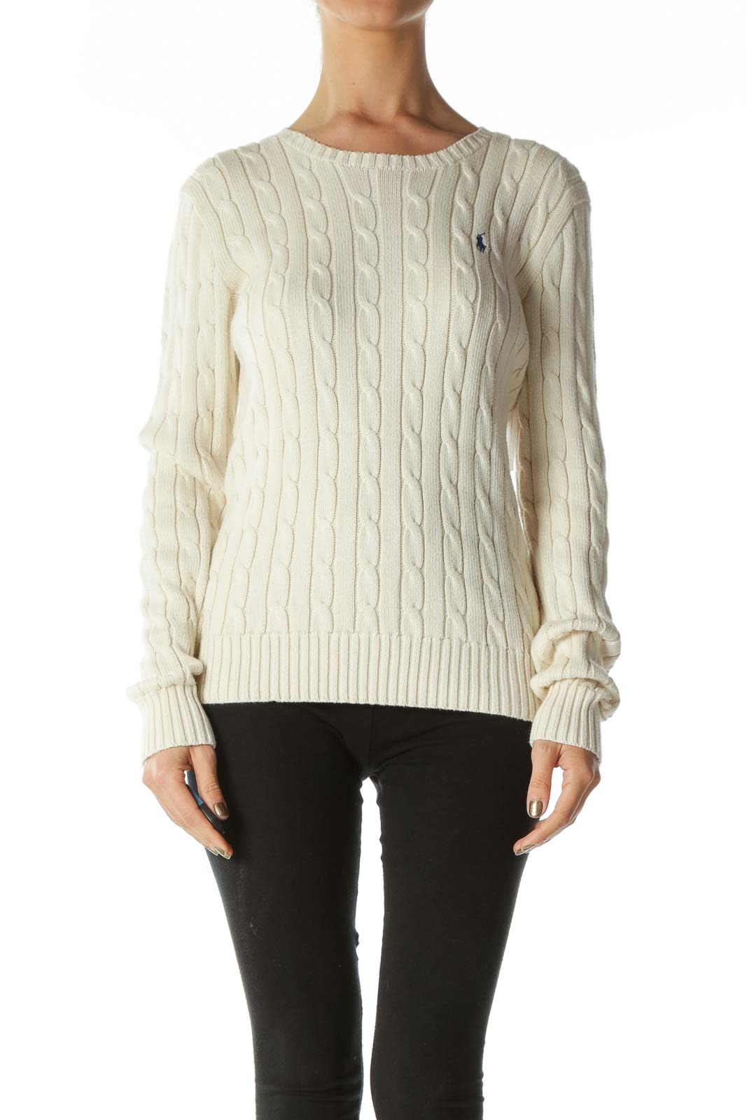 Cream Polo Logo Cable-Knit Sweater
