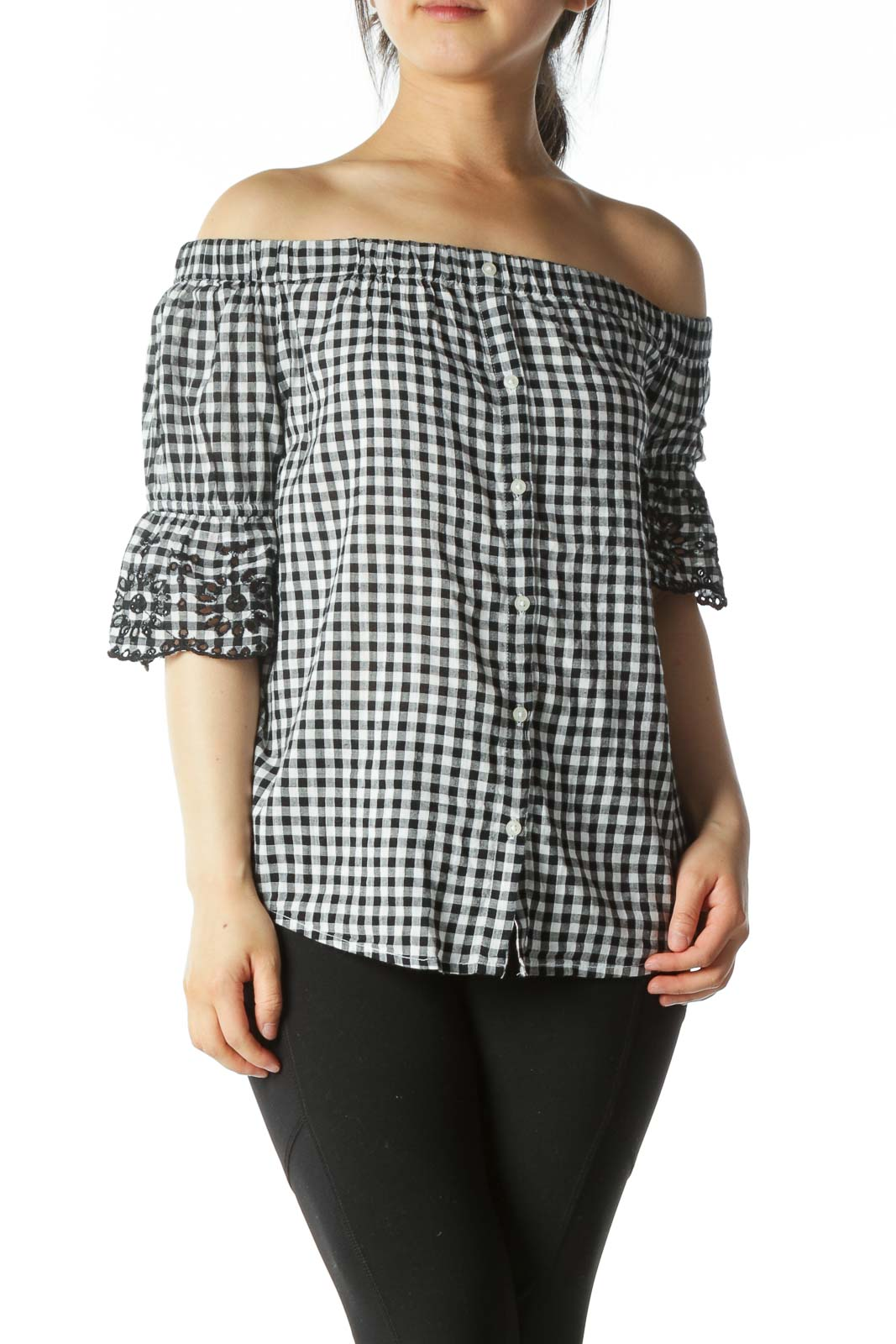 White and Black Off-The-Shoulder Plaid Button-Down Lace-Sleeve Blouse