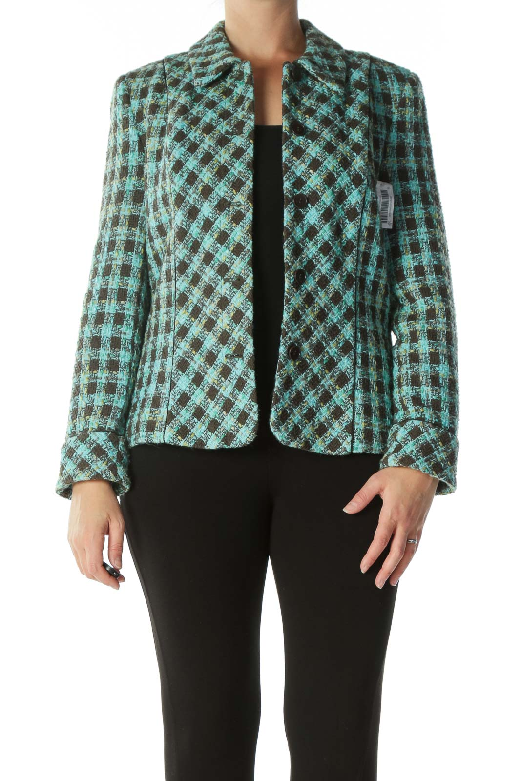 Green Brown Tweed Blazer