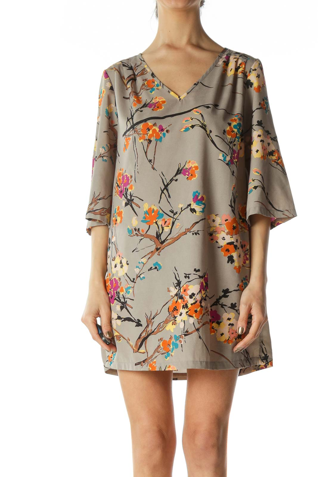 Multicolored Flared-3/4 Sleeves Floral-Print Day Dress