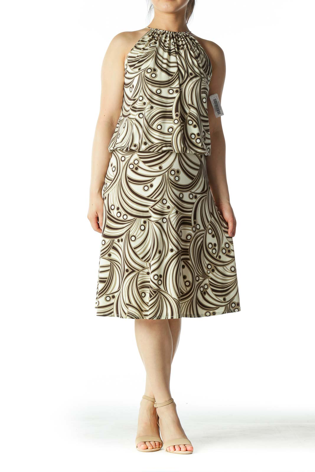 Beige and Multicolor Patterned Dress