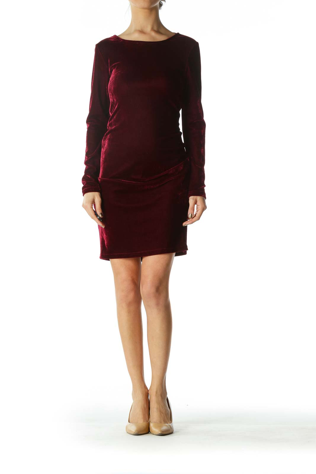 Burgundy Long Sleeve Dress with Choker