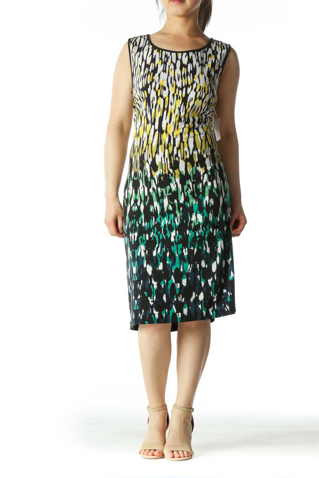 Black and Multicolor Patterned Dress