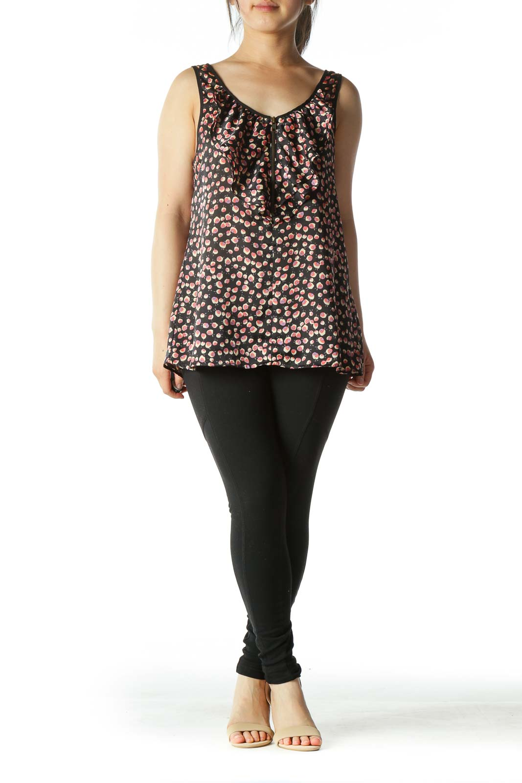 Black Floral-Print Ruffled Front-Zipper Sleeveless Blouse