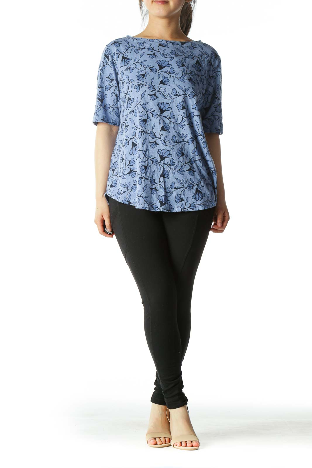 Blue Floral Design Crew-Neck T-Shirt