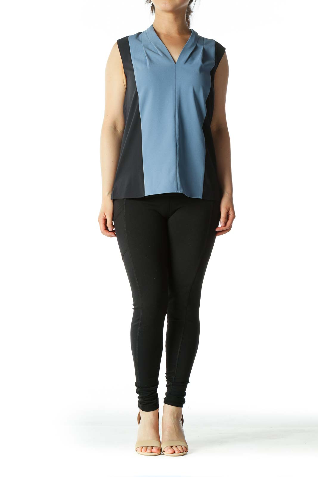 Light Blue and Navy Color-Block V-Neck Sleeveless Blouse
