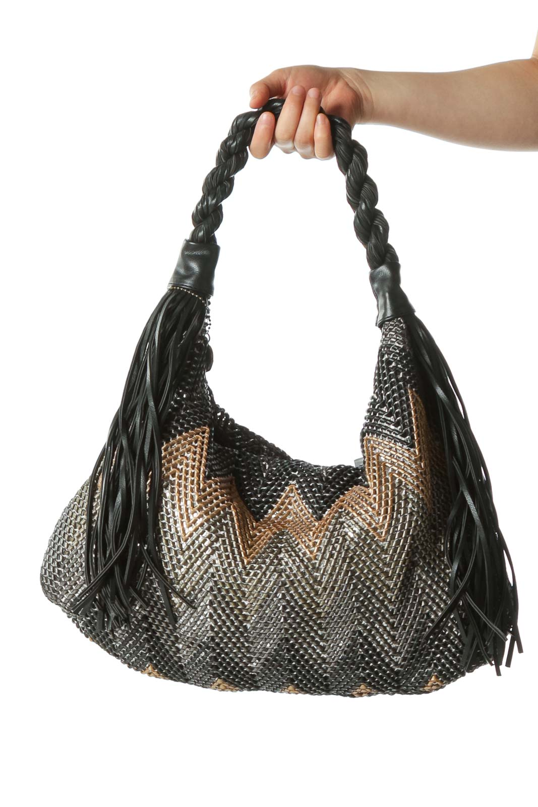 Black Tan and Silver Woven Shoulder Bag with Fringe and Twisted Shoulder Strap