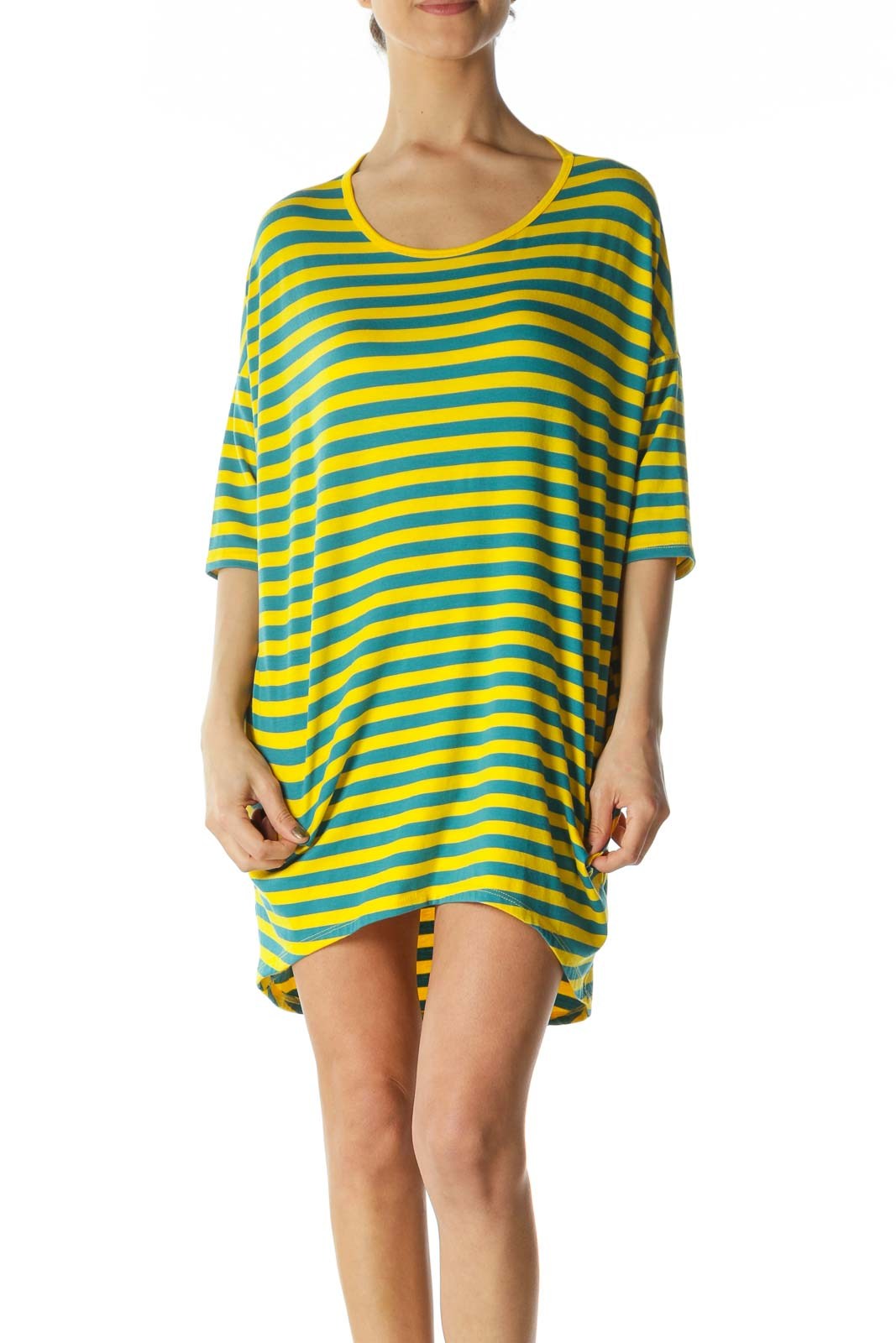 Yellow and Blue Striped Shirt Dress