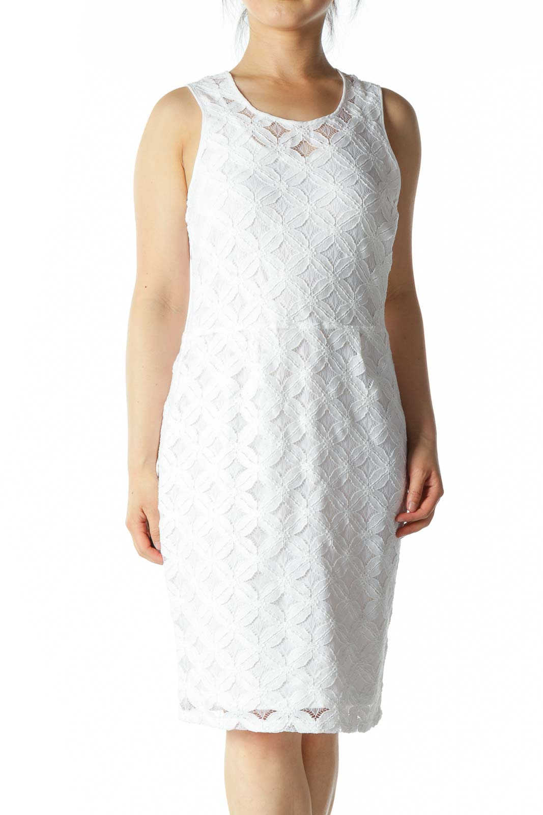 White A-Line Dress with Floral Pattern