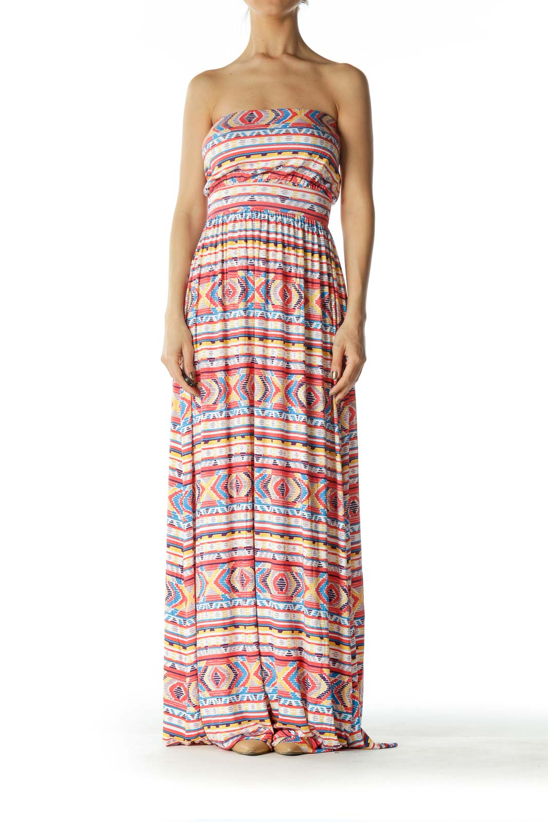 Orange and Multicolored Patterned Maxi Dress