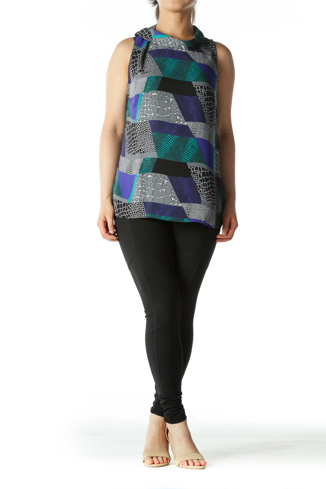 Green Blue and Grey Graphic Color-Block Cowl-Neck Blouse