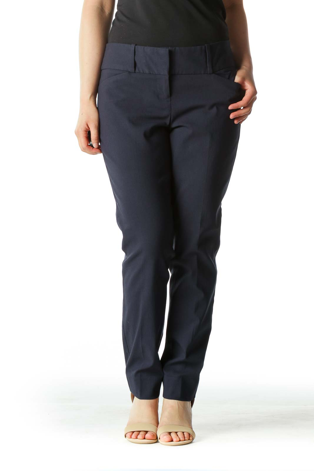 Navy Blue Capri Slim Fit Pants