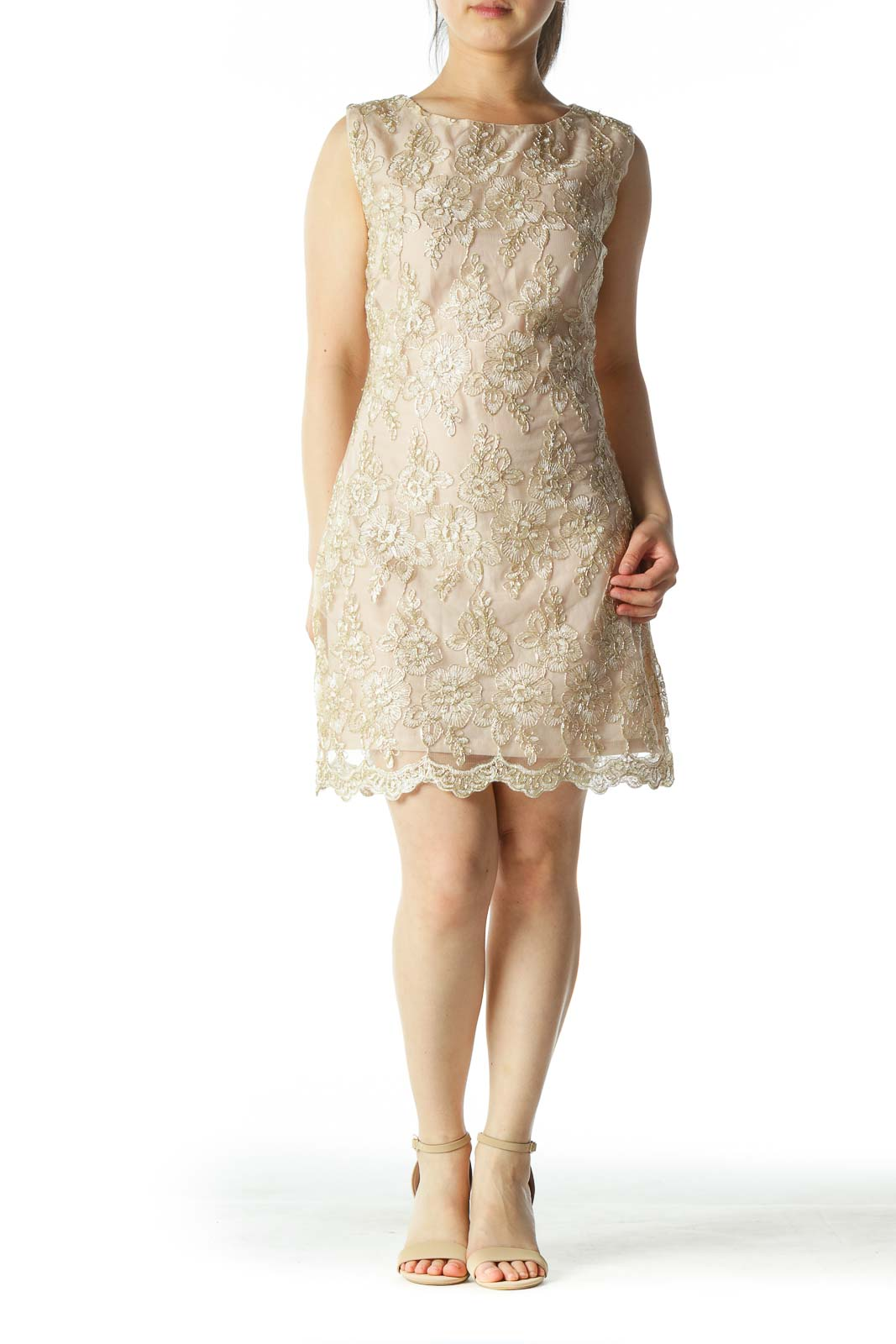 Beige/Gold Lace Flower Embroidery Cocktail Dress