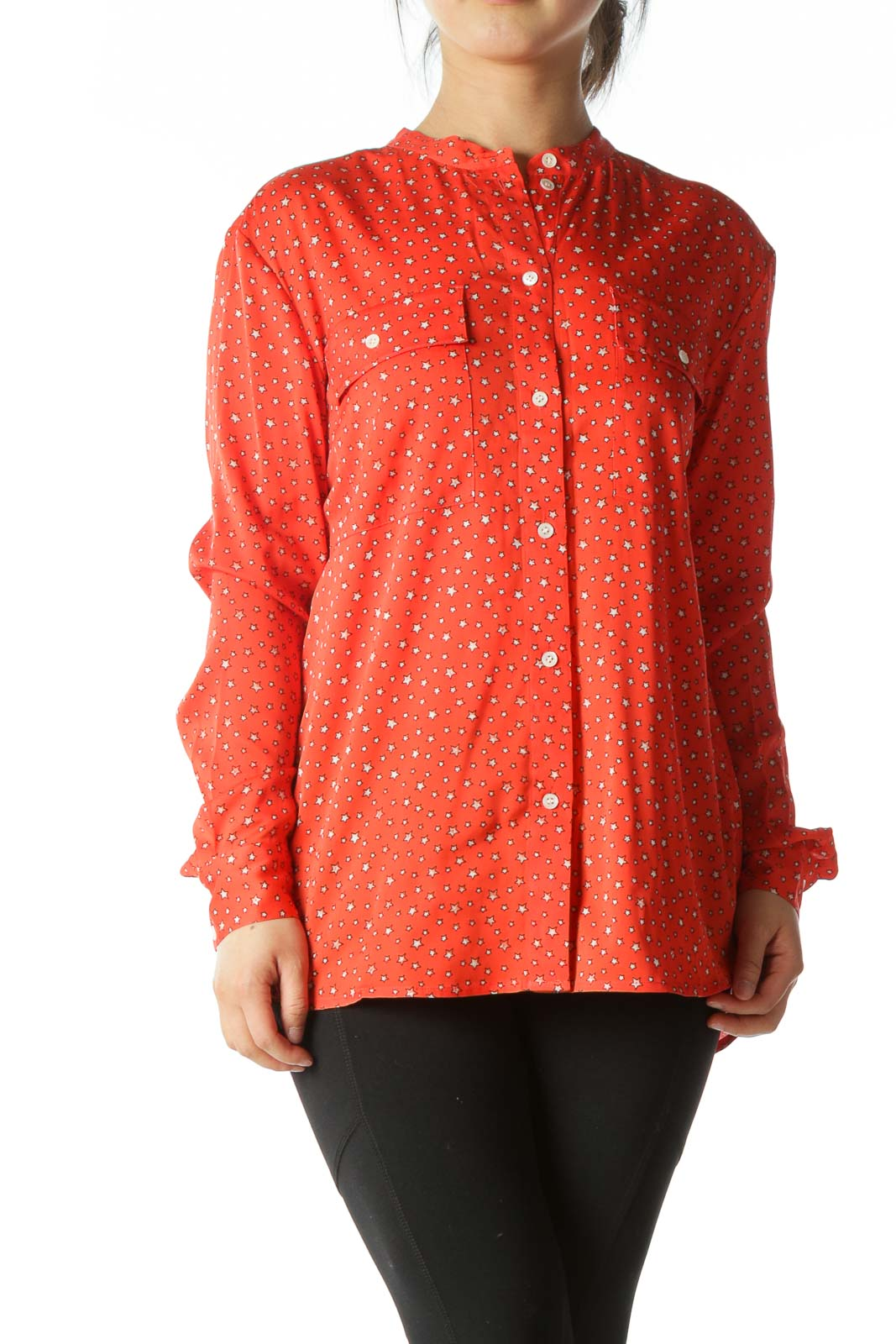 Red Star-Print Button-Up Blouse