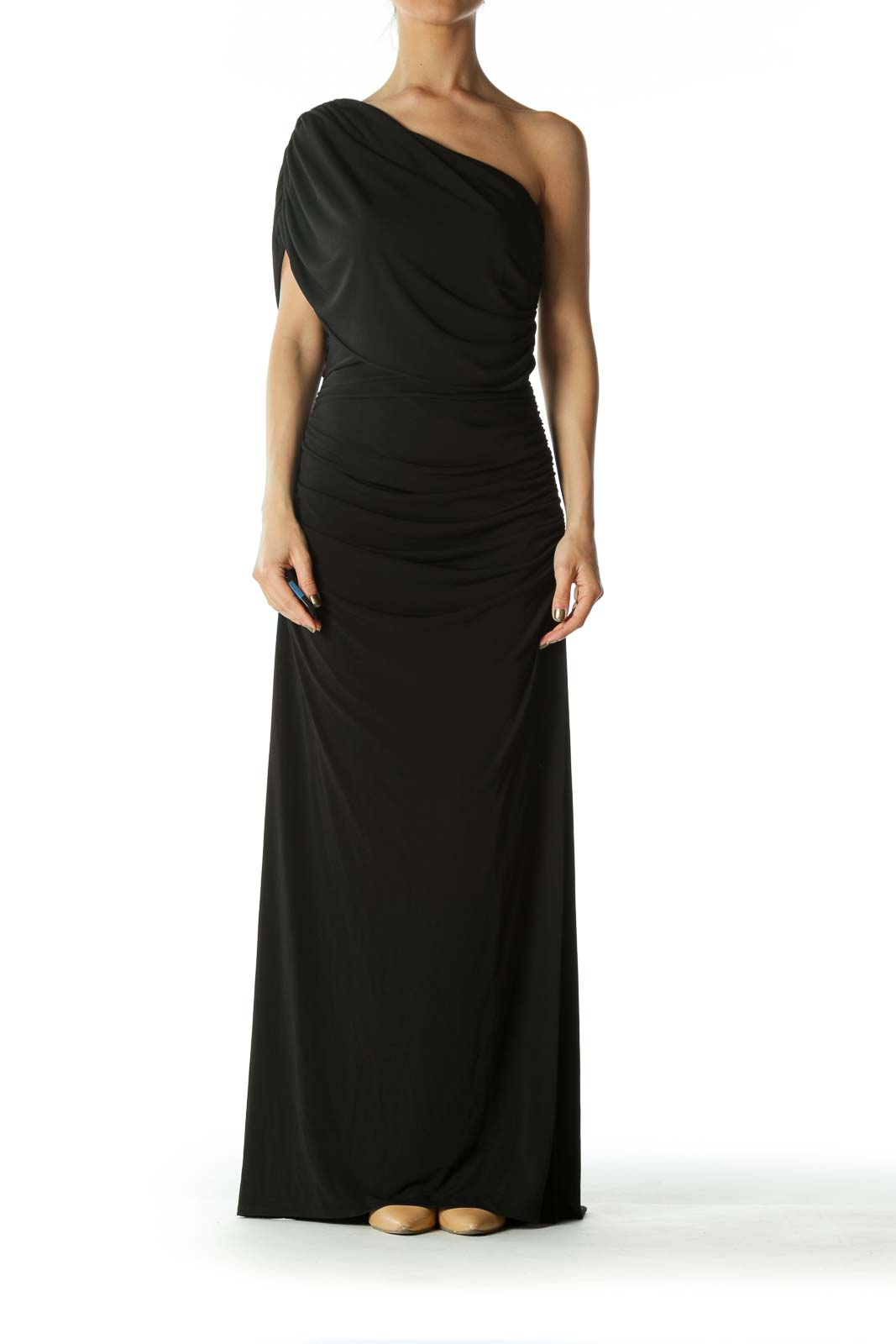 Black One Shoulder Evening Dress With Bejeweled Strap
