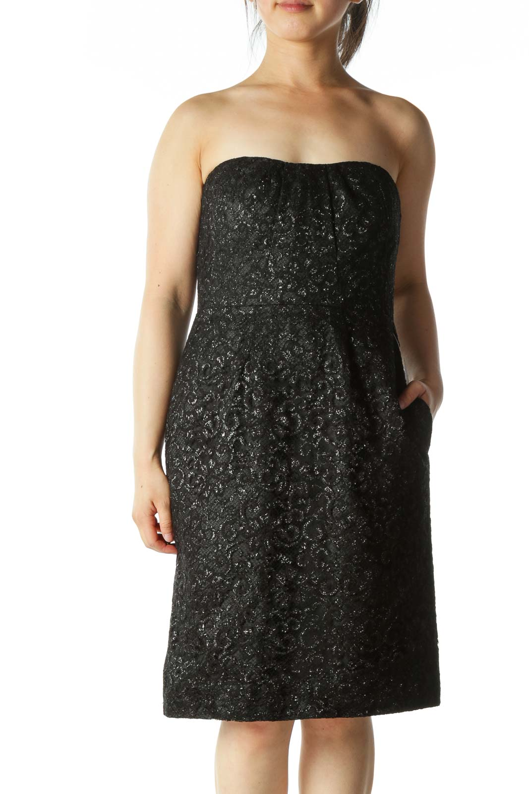 Black and Metallic Strapless Cocktail Dress