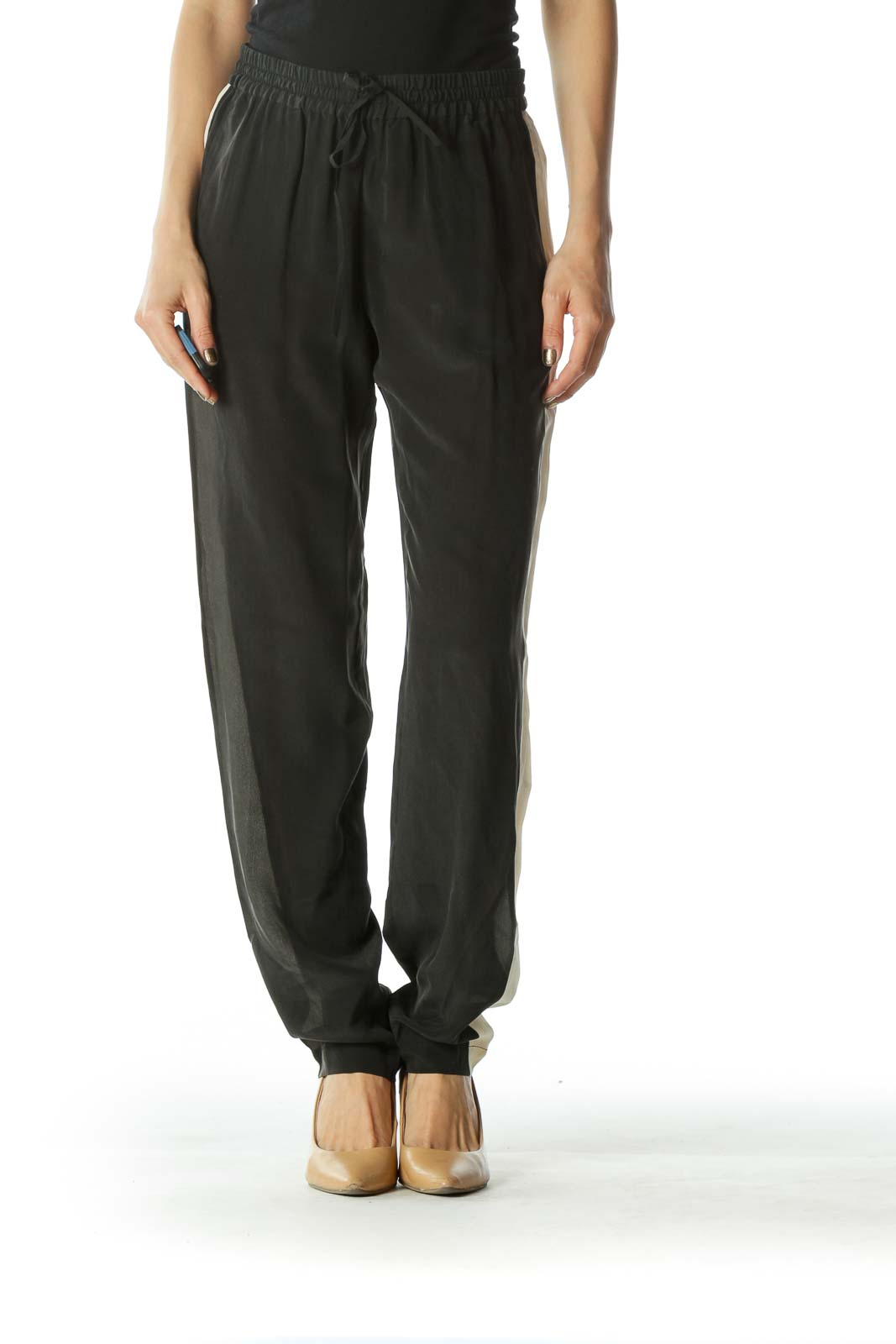 Black and Beige 100% Silk Pants