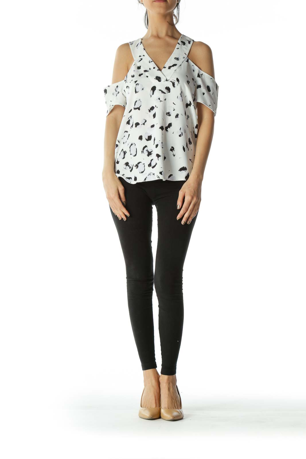 White and Black Graphic Off-The-Shoulder V-Neck Blouse