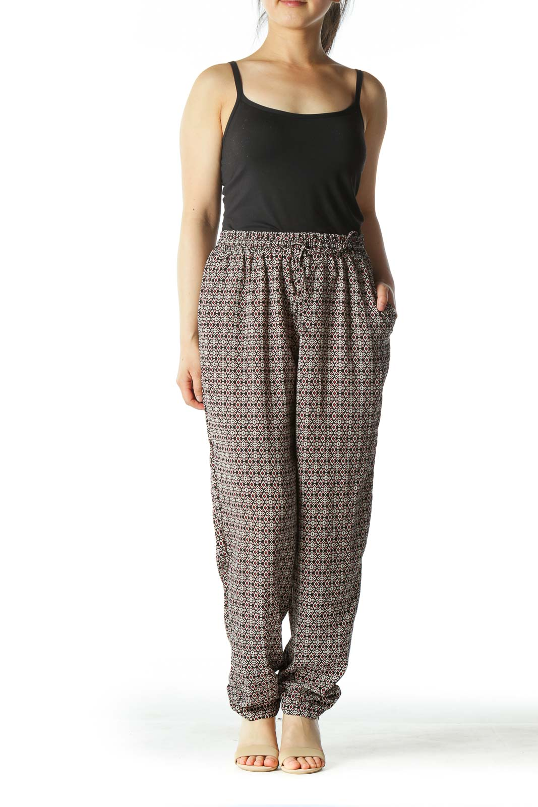 Multicolored Graphic Print High-Waisted Gaucho Pants