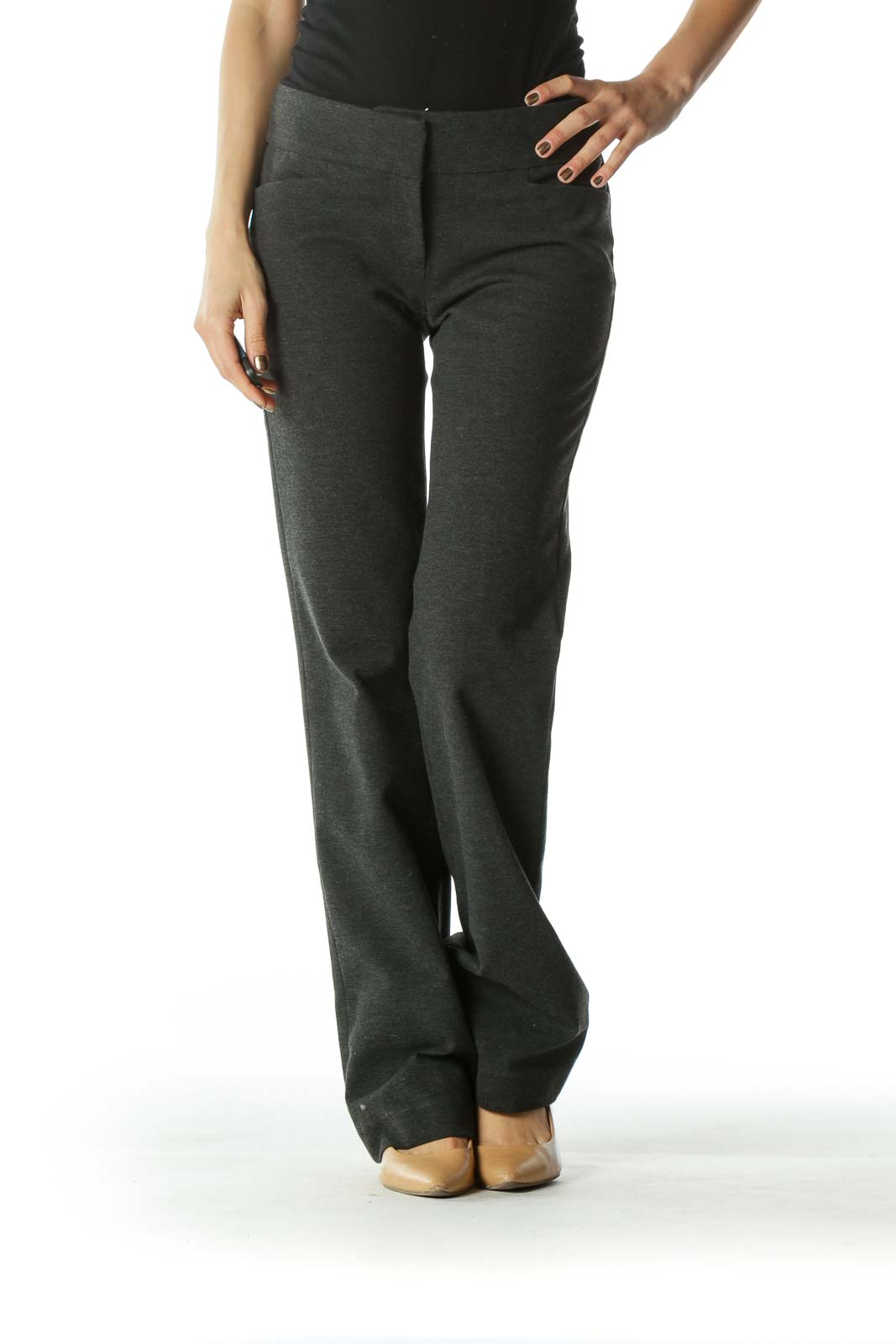 Charcoal Mid-Rise Straight-Leg Work Pants