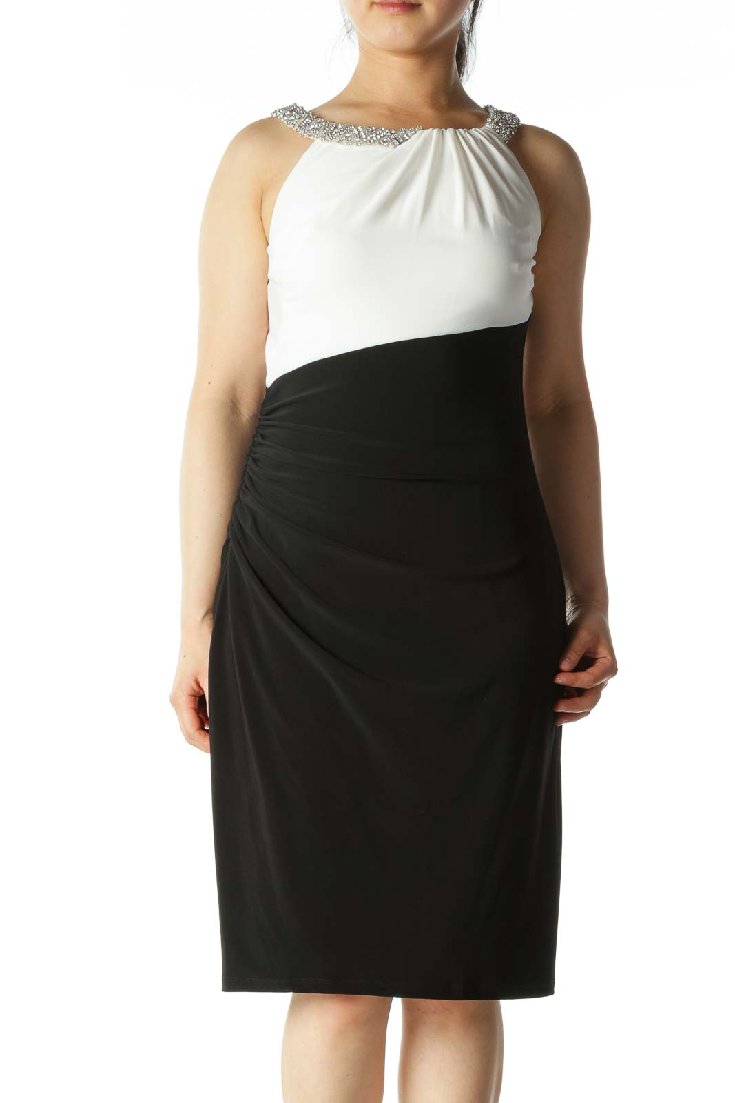 Black and White Cocktail Dress With Bejeweled Straps