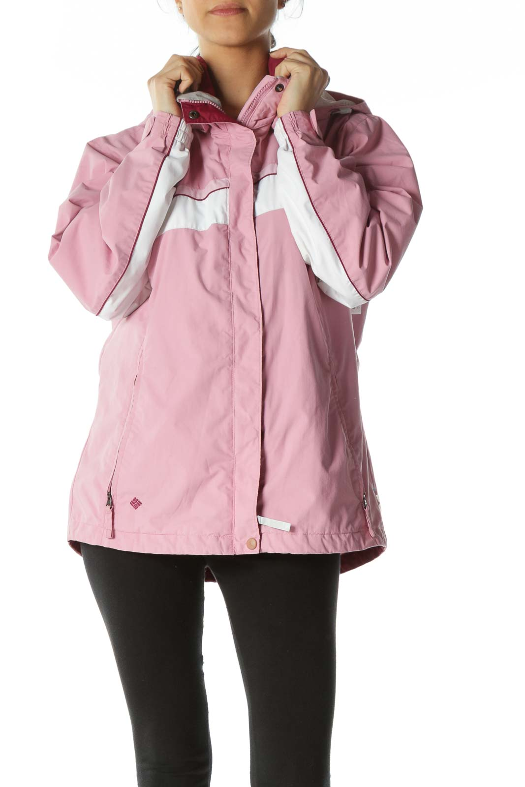Pink Zippered Pocket Hooded Jacket