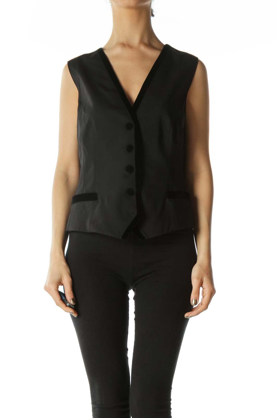 Black Designer Vest with Velvet Piping