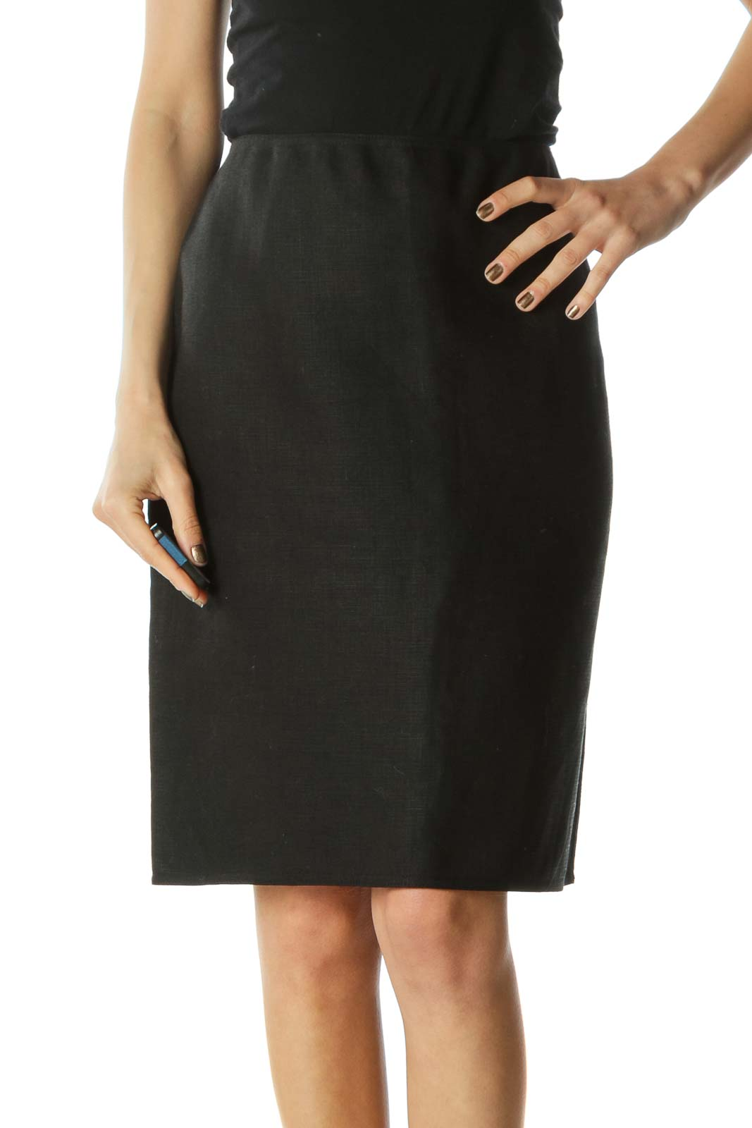 Black A-Line Textured Skirt