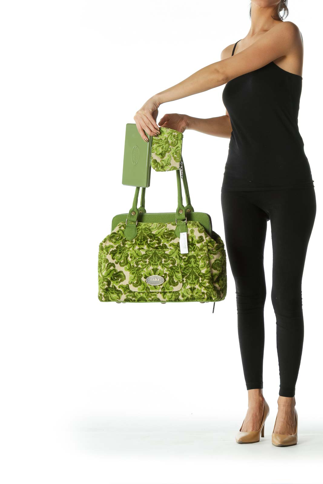 Green Leafy-Print Brocade Bucket Tote with Coin Purse