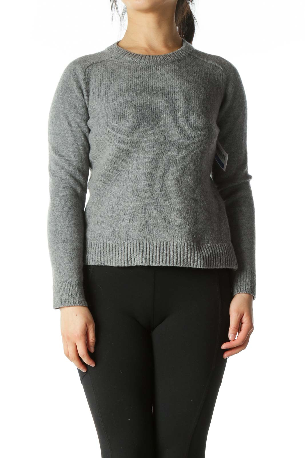 Grey Fitted Wool Crew-Neck Sweater