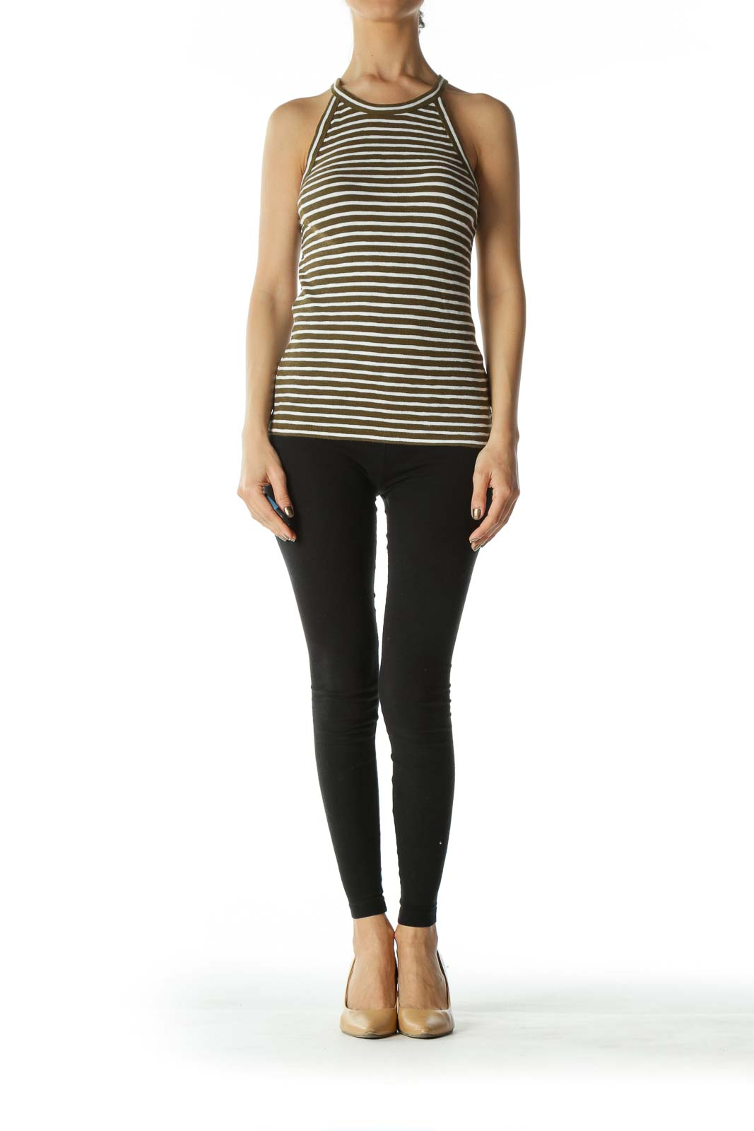 Olive and White Striped High-Neck Tank-Top