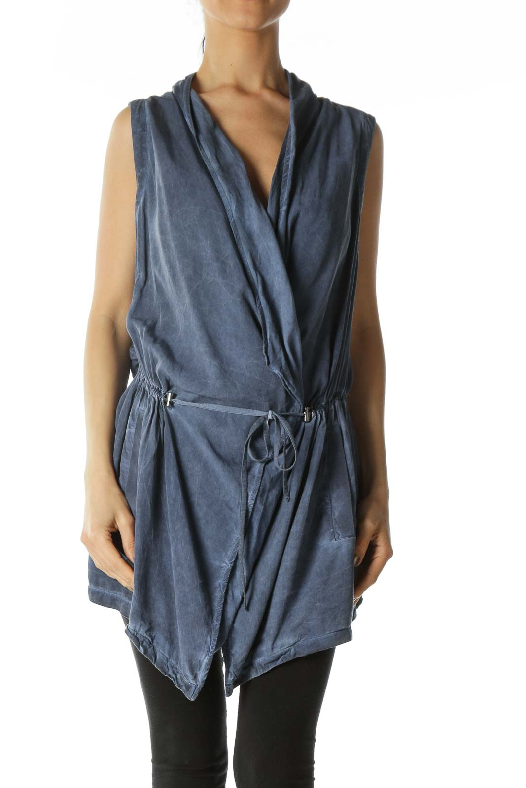 Denim Blue Waist Tie Vest Dress