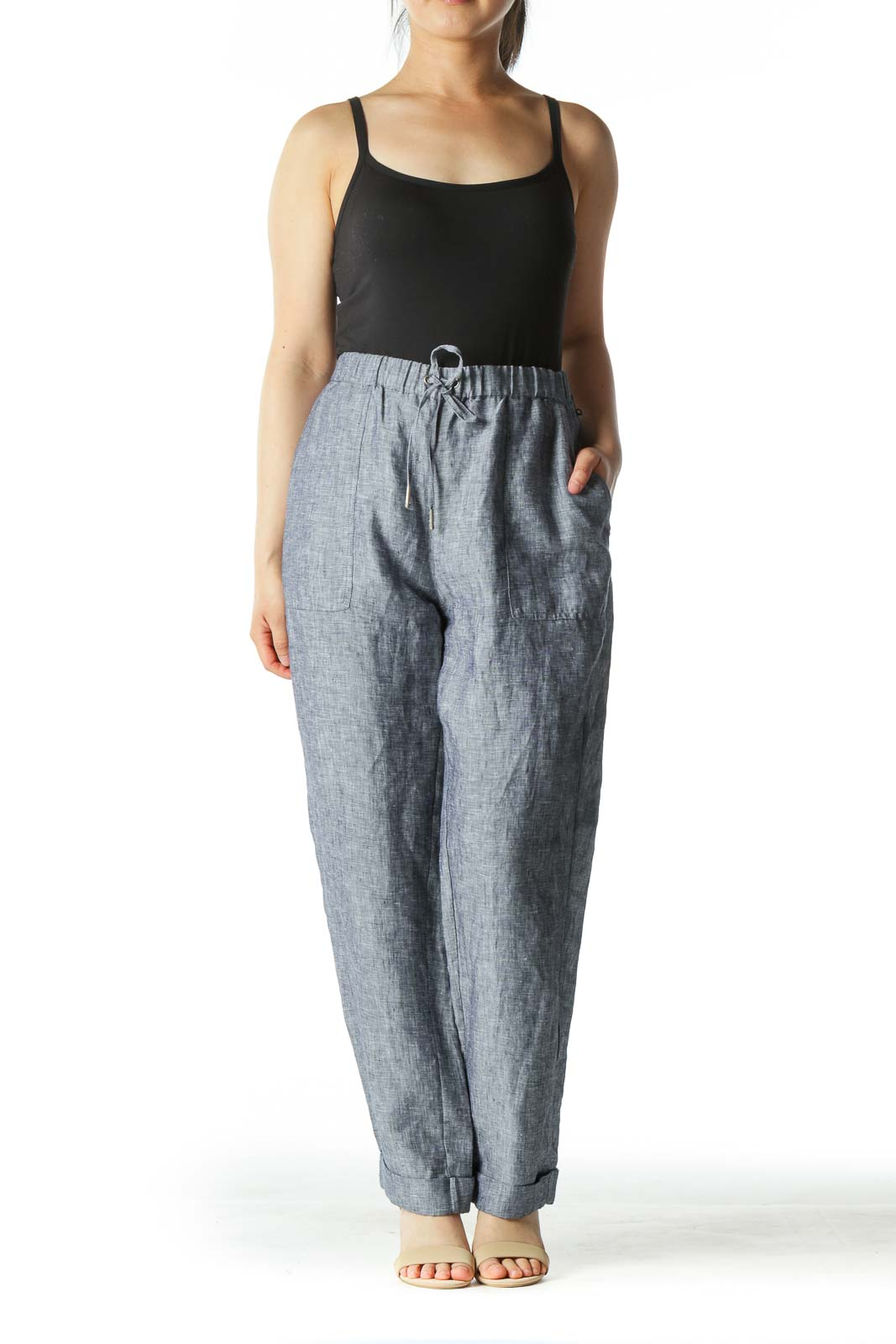 Gray Tapered Cuffed 100% Linen Pants