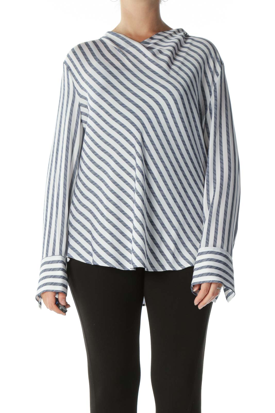 White and Navy Striped Cowl-Neck Long-Sleeve Blouse