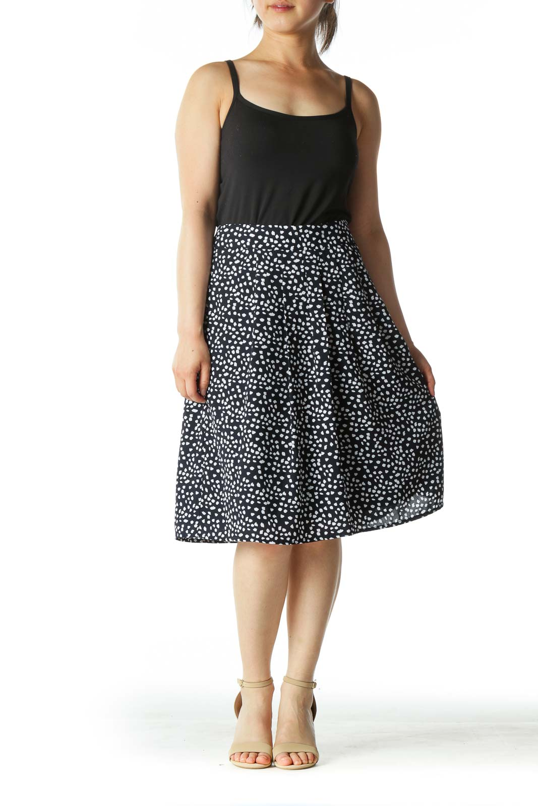 Black and White Polka Dot A-Line Skirt