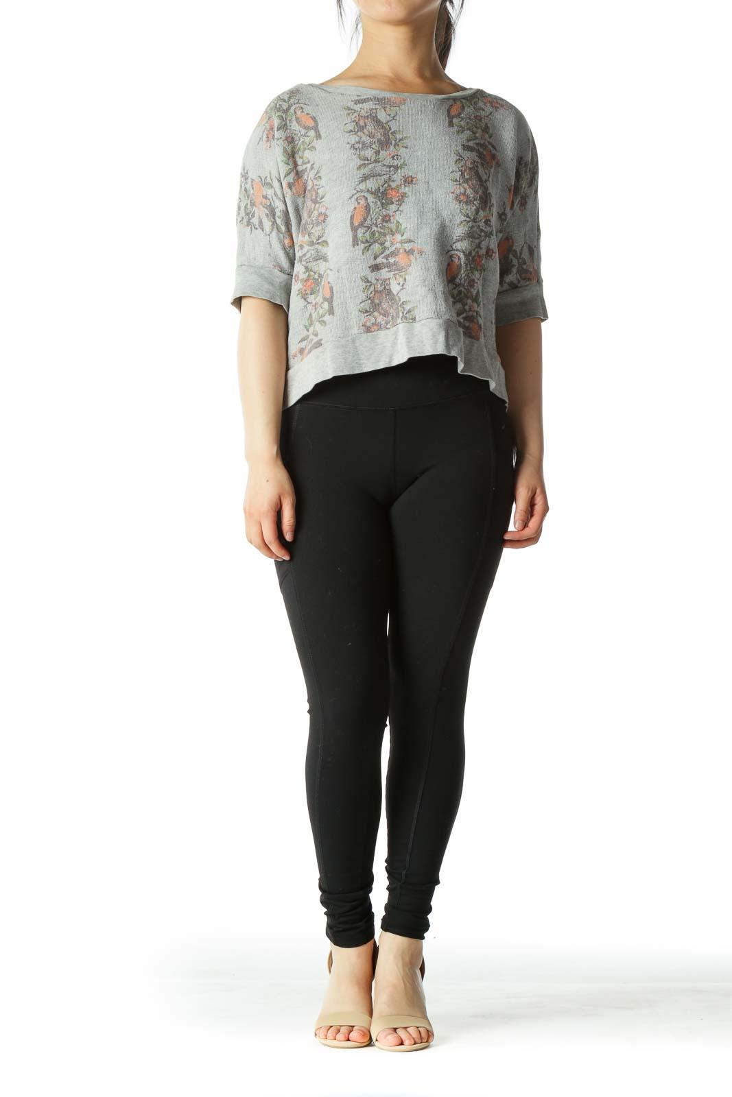 Grey Floral Cropped Short-Sleeve Sweatshirt