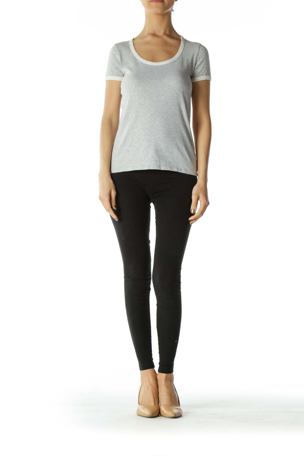 Grey Scoop-Neck Tee with White Neck and Sleeve Bands