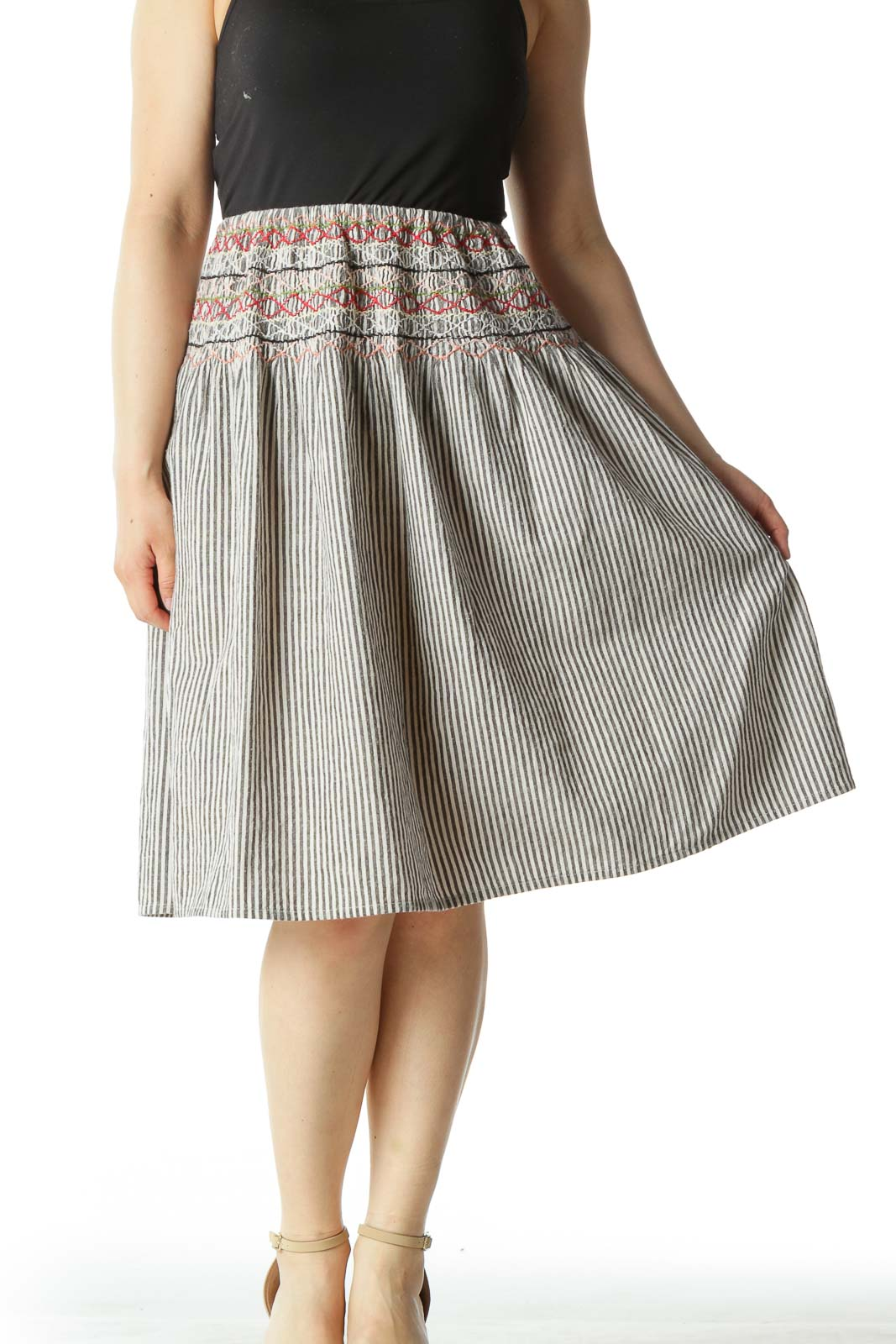 Black Striped A-Line Skirt with Multicolored Pattern