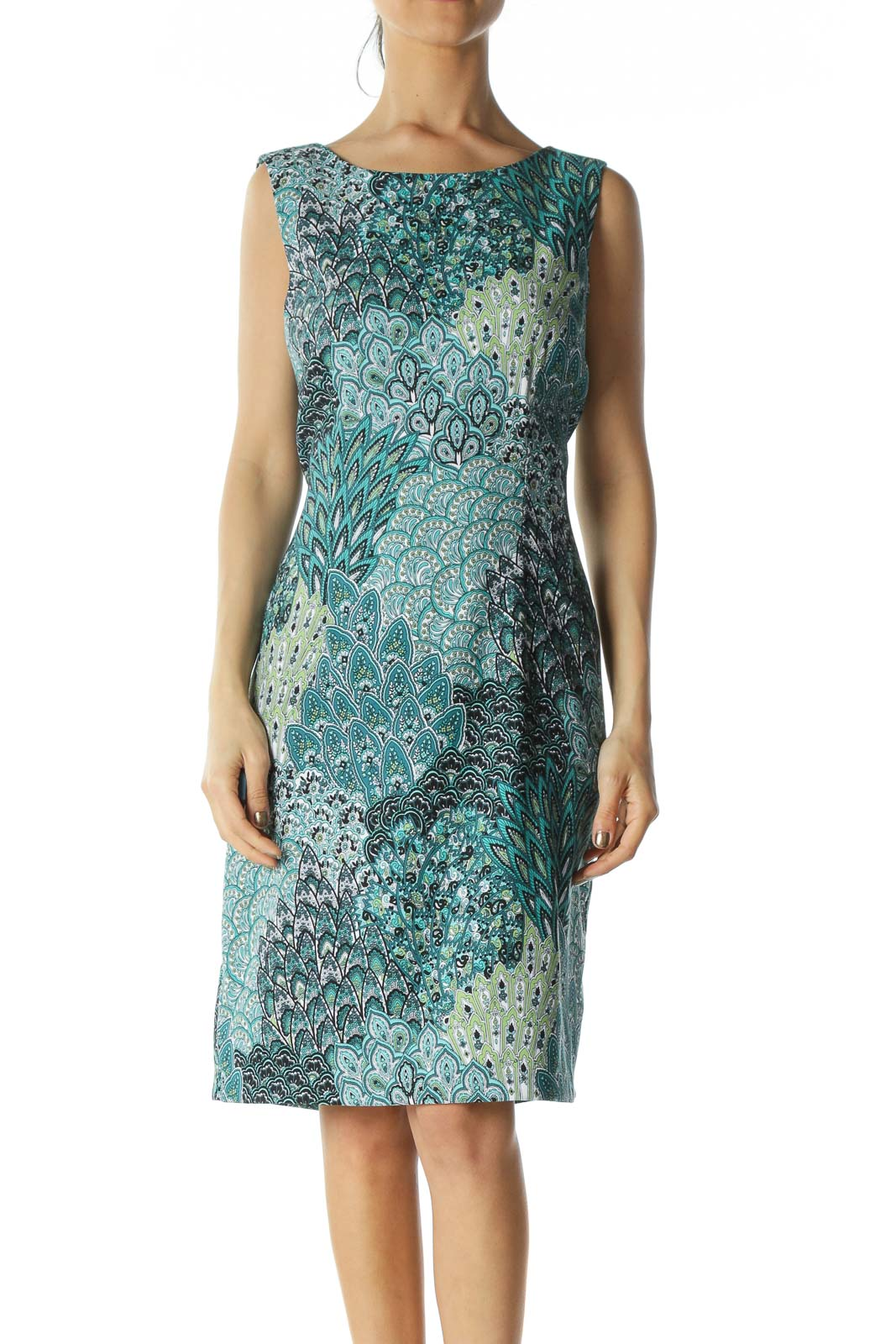 Green Paisley-Graphic Shift Dress